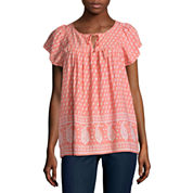 St. John's Bay Short Sleeve Crew Neck Rayon Blouse