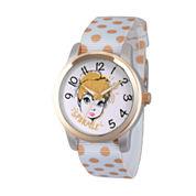 Disney Tinker Bell Womens White Strap Watch-Wds000063
