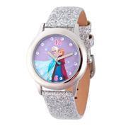 Disney Frozen Anna and Elsa Girls Silver Glitter Strap Watch-W002164