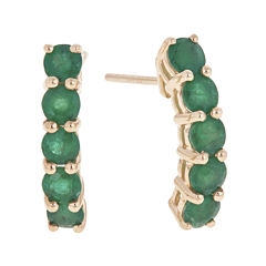 LIMITED QUANTITIES  Genuine Emerald 14K Yellow Gold Linear Earrings