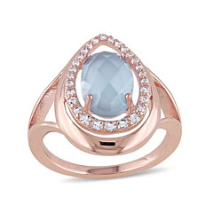 Genuine Chalcedony and White Topaz Rose Gold Over Silver Ring
