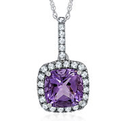 Genuine Amethyst and Lab-Created White Sapphire Pendant Necklace