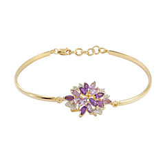 Genuine Amethyst & Lab-Created White Sapphire Flower Bangle Bracelet in 14K Gold over Silver