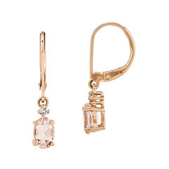 Oval Genuine Morganite and Diamond-Accent 14K Rose Gold Drop Earrings