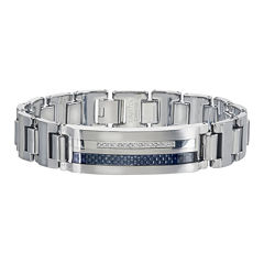Mens 1/5 CT. T.W. Diamond Stainless Steel and Tungsten Bracelet