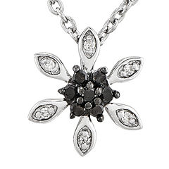 1/10 CT. T.W. White and Color-Enhanced Black Diamond Sterling Silver Snowflake Pendant Necklace