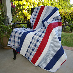 Greenland Home Fashions Nautical Stripe Quilted Cotton Throw