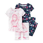 Carter's Girls 4-pc. Short Sleeve Pant Pajama Set-Toddler