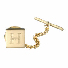Engravable Square Gold-Plated Tie Tack