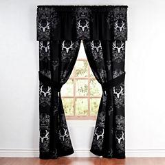 Bone Collector Black Rod Pocket Lined Curtains W/Tiebacks