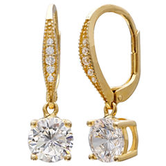 Gold Reflection Clear Diamond Accent Gold Over Brass Drop Earrings