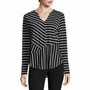 Worthington Long Sleeve Y Neck T-Shirt-Talls