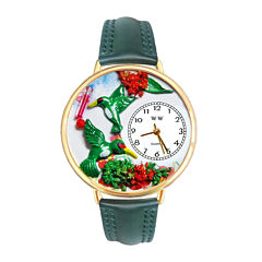 Whimsical Watches Personalized Hummingbird Womens Gold-Tone Bezel Green Leather Strap Watch