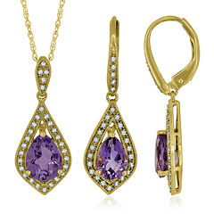 Genuine Amethyst and Lab-Created Sapphire 14K Yellow Gold Pendant or Earrings