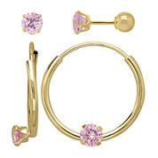 Infinite Gold™ Kids 14K Yellow Gold Pink Cubic Zirconia Stud and Hoop 2-pr. Earring Set