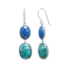 Enhanced Turquoise and Dyed Lapis Sterling Silver Oval Double-Drop Earrings
