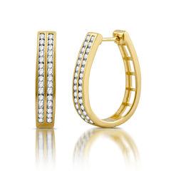 1 CT. T.W. White Diamond Gold Over Silver Hoop Earrings