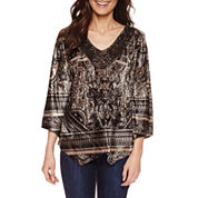 Unity World Wear Long Sleeve V Neck T-Shirt-Petites