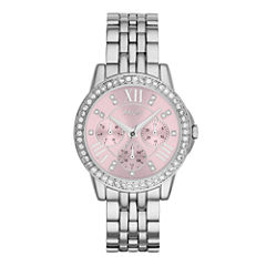 Relic® Womens Crystal-Accent Silver-Tone Bracelet Watch ZR15752