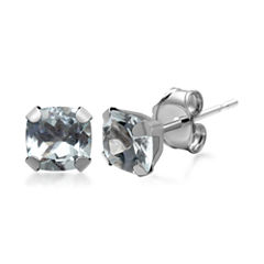 Genuine Aquamarine 10K White Gold Stud Earrings