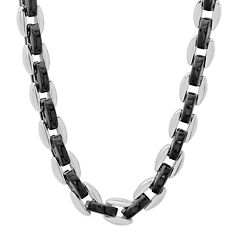 """Mens Two-Tone Stainless Steel 24"""" Chain Necklace"""