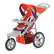 InStep Flight Swivel Wheel Single Jogging Stroller - Poppy Red and Maroon