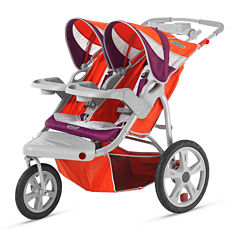 InStep Flight Swivel Wheel Double Jogging Stroller - Poppy Red and Maroon