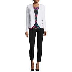 nicole by Nicole Miller® Zip-Pocket Jacket, Print Blouse or Pintuck Ankle Pants