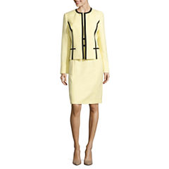 Black Label by Evan-Picone Long Sleeve Contrast Trim Jacket with Sleeveless Sheath Dress