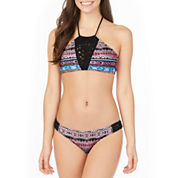 Arizona Floral High Neck Swimsuit Top or Hipster Bottom-Juniors