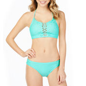 Arizona Crochet Front Midneck Swimsuit Top or Hipster Bottom-Juniors