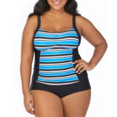 St. John's Bay Pacific Stripe Peasant Tankini Swimsuit Top-Plus
