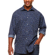 Claiborne Clbn Fashion Woven Button-Front Shirt-Big and Tall