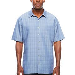 Van Heusen Short Sleeve Rayon Polyester Button-Front Shirt- Big & Tall