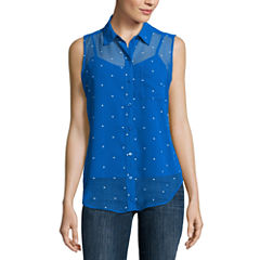 Liz Claiborne® Sleeveless Woven Button-Front Shirt