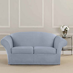 SURE FIT® Ultimate Heavyweight Stretch Suede Individual Cushion Loveseat Slipcover