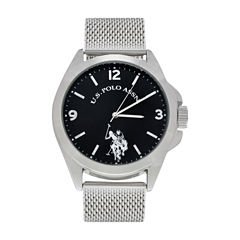 U.S. Polo Assn. Mens Silver Tone Strap Watch-Usc80505jc