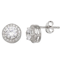 Silver Treasures Round Clear Diamond Accent Stud Earrings