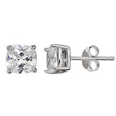 Silver Treasures Cushion Clear Sterling Silver Stud Earrings