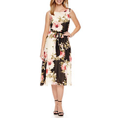 Perceptions Sleeveless Floral Fit & Flare Dress