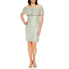 Blu Sage Off the Shoulder Sequin Sheath Dress