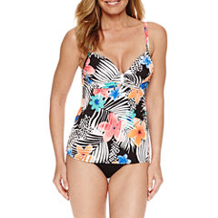 Pure Paradise® Bra Sized Floral Tankini Swimsuit Top or Skirt