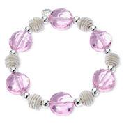 Monet® Pink Stone Silver-Tone Stretch Bracelet