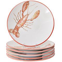 Abbiamo Tutto Lobster Set of 6 Ceramic Dinner Plates