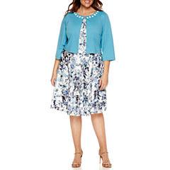 Perceptions 3/4 Sleeve Beaded Lace Jacket Dress-Plus