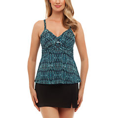 St. John's Bay® Tribal Textiles Buckle Front Tankini or Side-Slit Swim Skirt