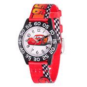 Disney Cars Boys Red Strap Watch-Wds000124