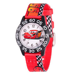 Disney Cars Boys Red Strap Watch-Wds000124