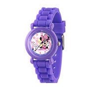 Disney Minnie Mouse Girls Purple Strap Watch-Wds000139