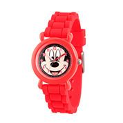 Disney Mickey Mouse Boys Red Strap Watch-Wds000140
